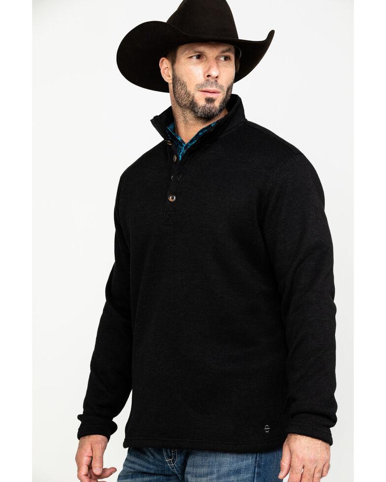 Stetson Men's Bonded 1/4 Button Knit Pullover , Black, hi-res