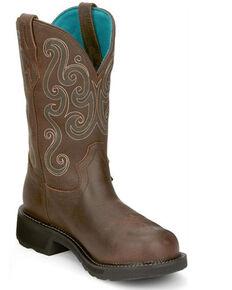 Justin Women's Tasha Waterproof Western Work Boots - Steel Toe, Brown, hi-res
