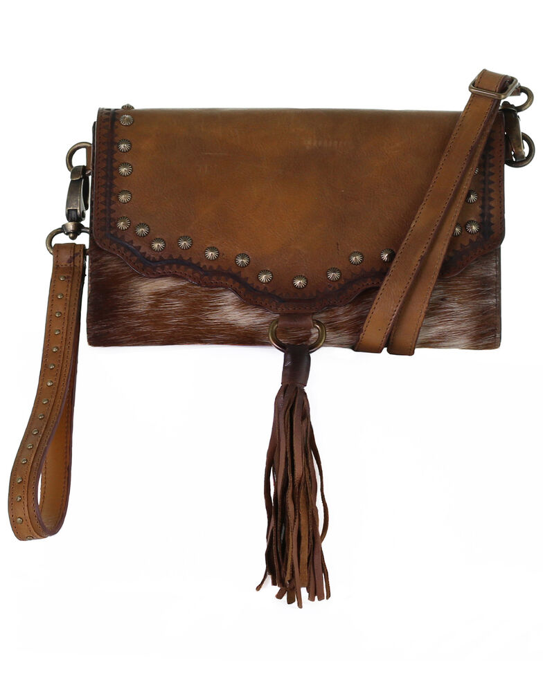 Corral Women's Shedron Laser With Studs Wallet, Brown, hi-res