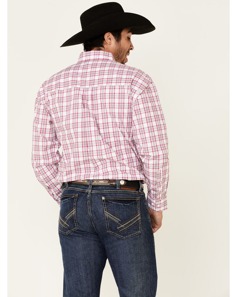 George Strait By Wrangler Men's Fuchsia Small Plaid Long Sleeve Western Shirt - Tall , White, hi-res