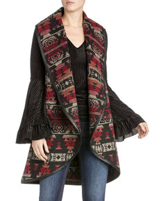 Miss Me Women's Aztec Long Vest , Multi, hi-res