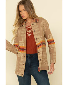 Pendleton Women's Chief Joseph Jacquard Barn Jacket , Tan, hi-res