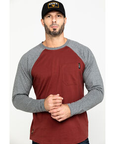 Hawx® Men's Red Baseball Raglan Crew Long Sleeve Work Shirt, Charcoal, hi-res