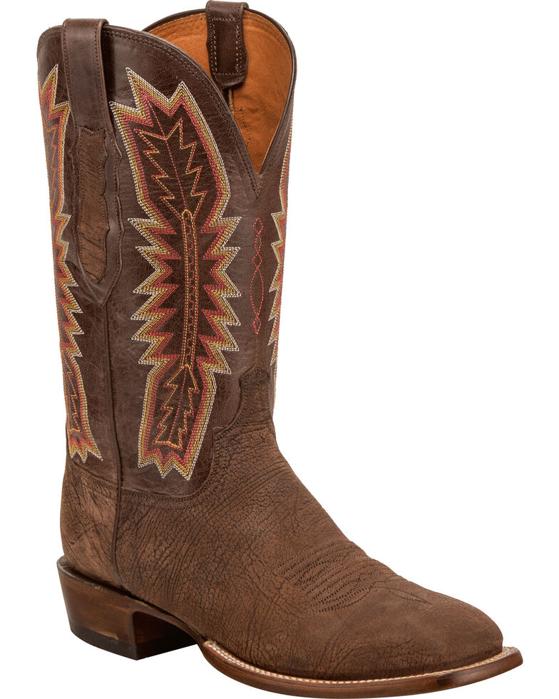 Lucchese Men's Handmade Hunter Chocolate Sueded Sheep Horseman Western Boots - Square Toe, , hi-res