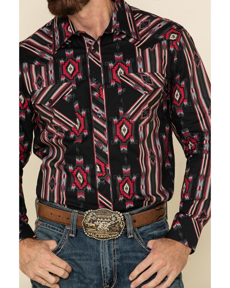 Rock & Roll Denim Men's Black Aztec Striped Long Sleeve Western Shirt , Black, hi-res