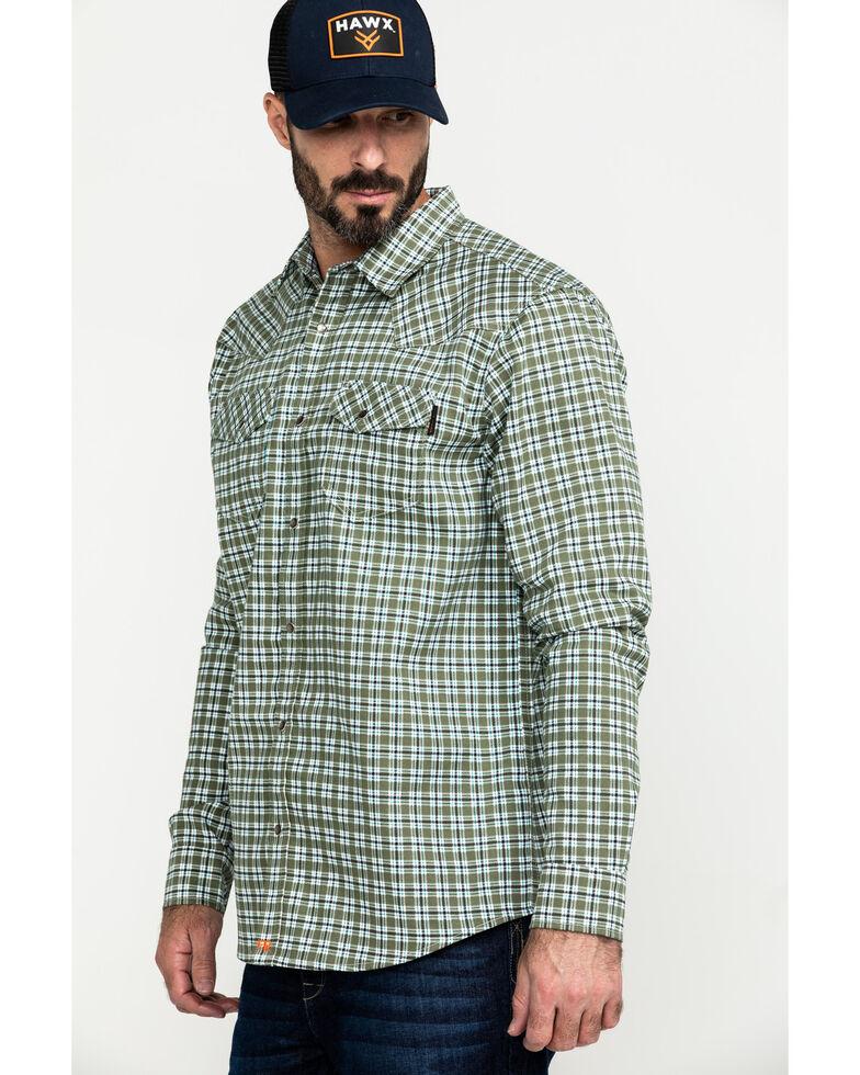 Cody James Men's FR Geo Print Long Sleeve Work Shirt - Tall, Green, hi-res