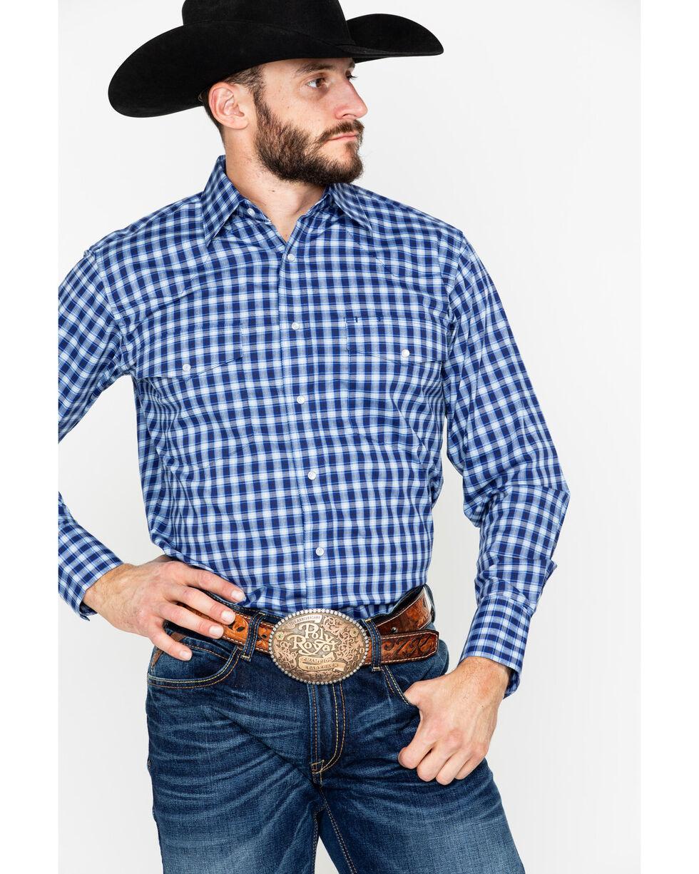 Wrangler Men's Blue Plaid Long Sleeve Western Shirt, Blue, hi-res