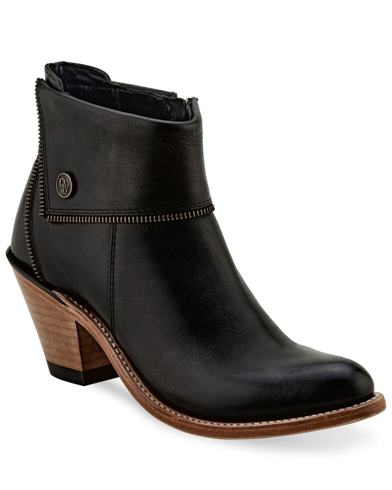 Old West Women's Black Zipper Fashion Booties - Pointed Toe, Black, hi-res