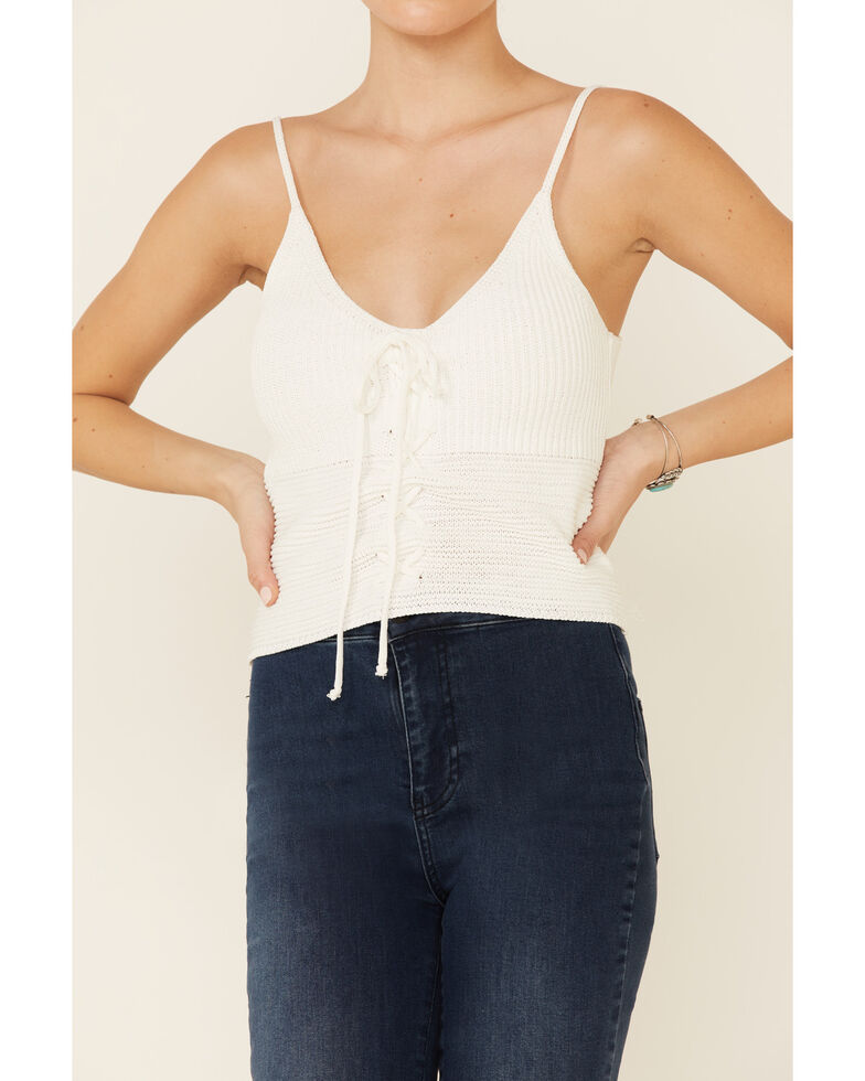 Mystree Women's White Sweater-Knit Lace-Up Cami , White, hi-res