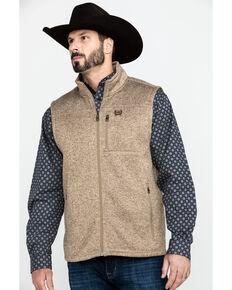 Cinch Men's Khaki Full Zip Fleece Sweater Vest , Beige/khaki, hi-res