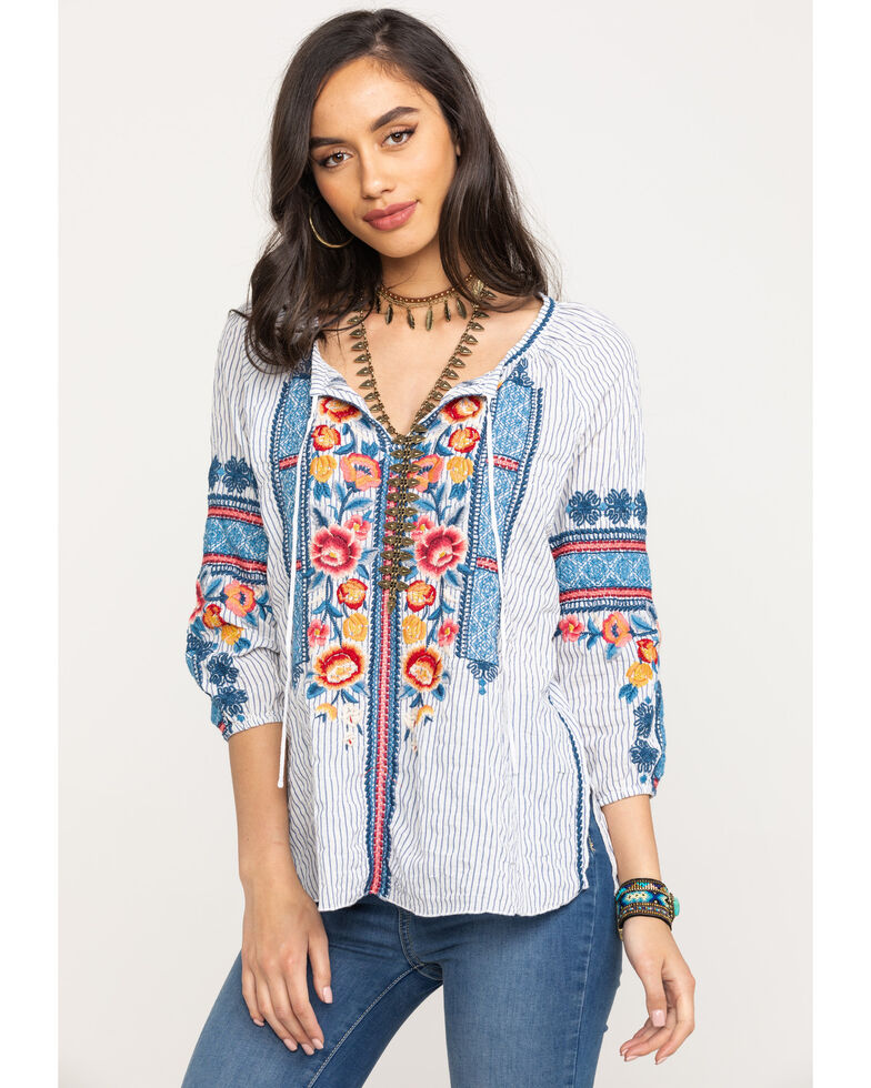 Johnny Was Women's Stripe Dani Peasant Blouse, Multi, hi-res