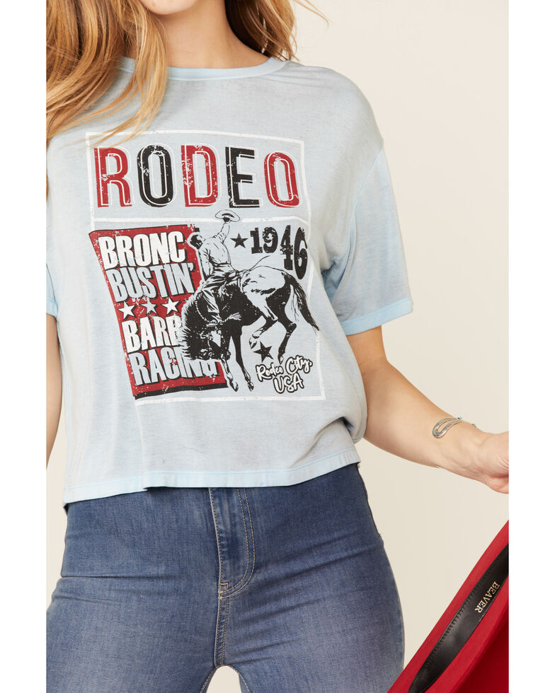 Rock & Roll Denim Women's Rodeo Bronco Bustin' Tee, Blue, hi-res