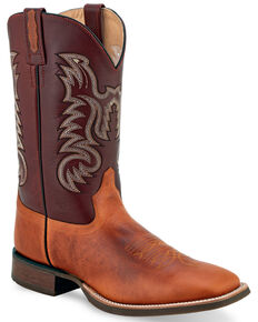 Old West Men's Stockman Western Boots - Wide Square Toe, Tan, hi-res