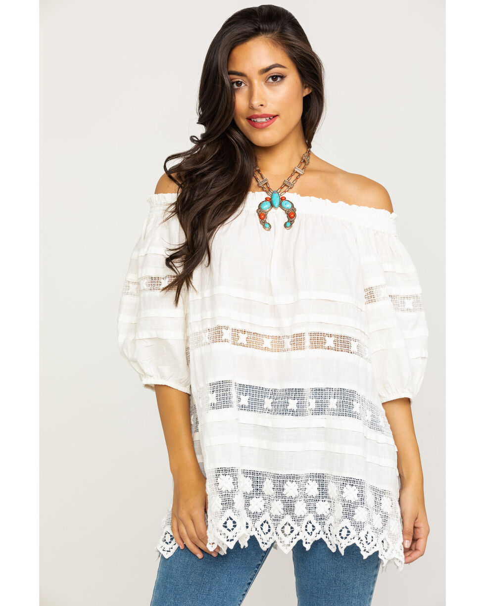 Free People Women's White Sounds of Summer Tunic Top, White, hi-res