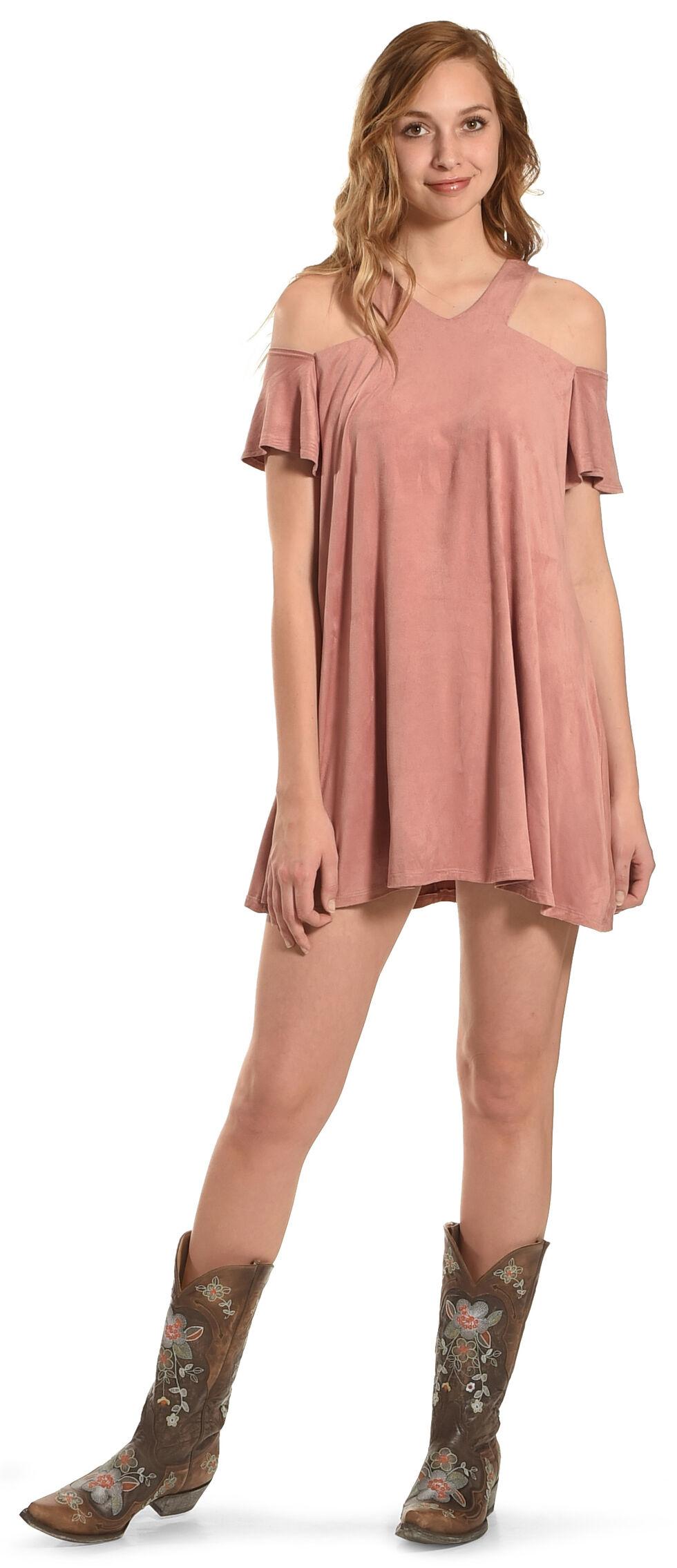 Jody of California Women's Pink Cold Shoulder Micro Suede Dress , Pink, hi-res