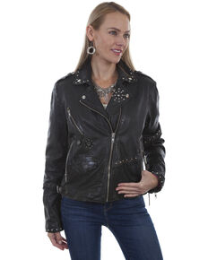 Leatherwear by Scully Women's Black Studded Vintage Jacket, Black, hi-res