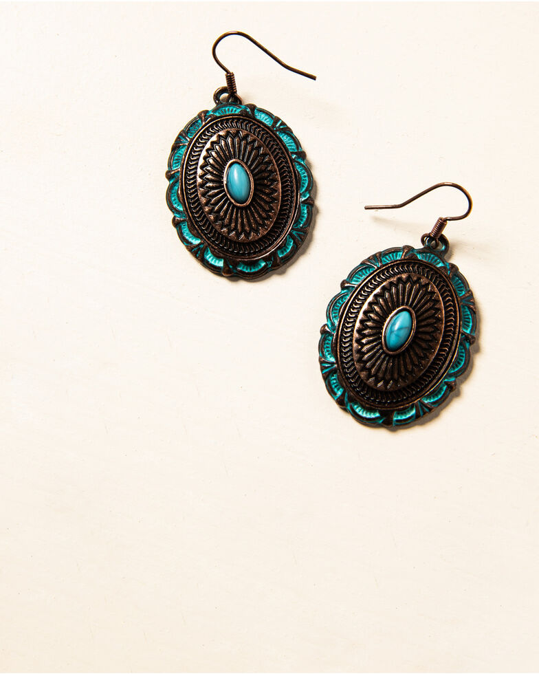 Shyanne Women's Willow Moon Patina Copper Concho Earrings , Rust Copper, hi-res