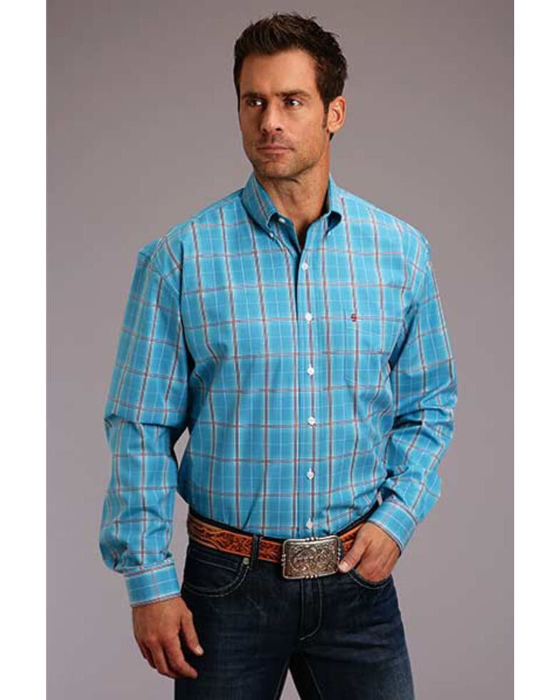 Stetson Men's Ranch Ombre Plaid Long Sleeve Western Shirt, Blue, hi-res
