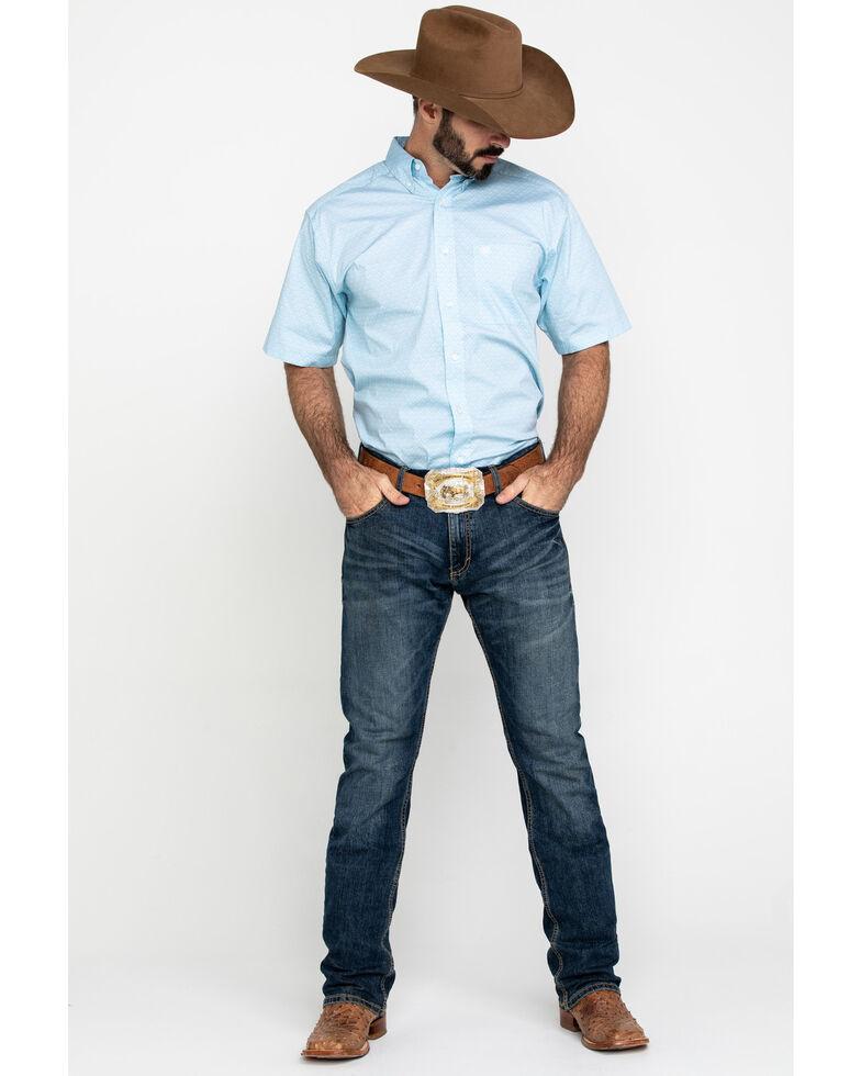 Ariat Men's Louisville Stretch Geo Print Short Sleeve Western Shirt - Big , Blue, hi-res