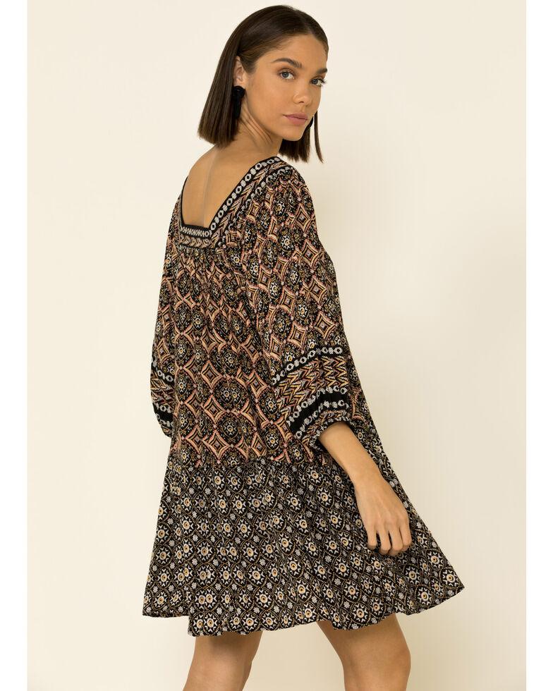 Angie Women's Black Geo Print Square Neck Dress, Black, hi-res