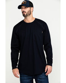 Hawx Men's Navy FR Pocket Long Sleeve Work T-Shirt , Navy, hi-res