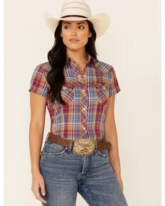 Roper Women's Cranberry Plaid Short Sleeve Snap Western Shirt , Red, hi-res
