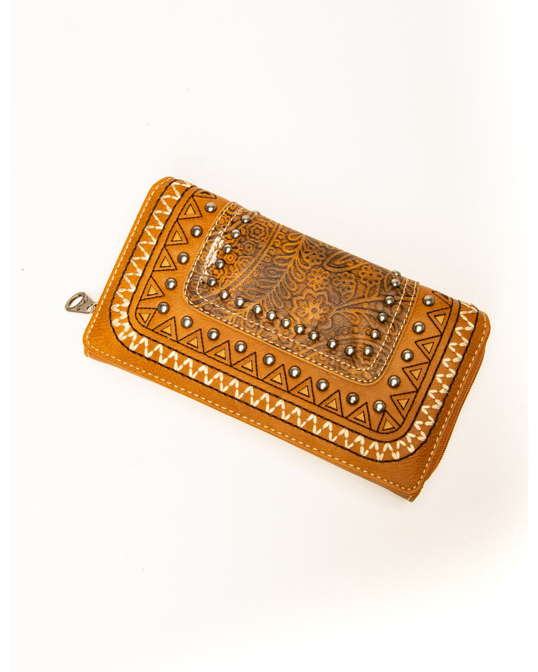 Montana West Women's Tooled Leather & Aztec Wallet, Brown, hi-res