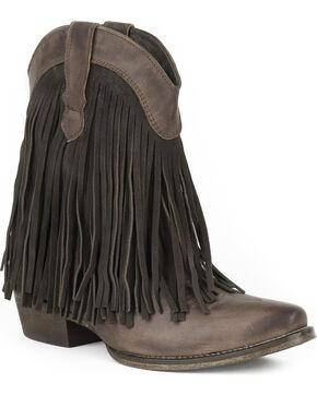 Roper Women's Brown Dylan Western Booties - Snip Toe , Brown, hi-res