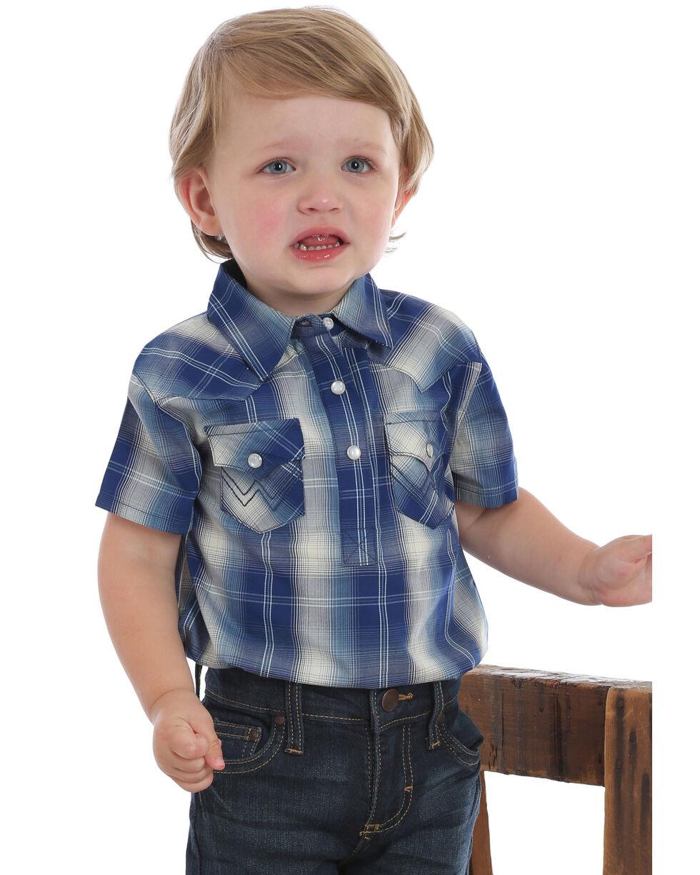 Wrangler Toddler Boys' Plaid Short Sleeve Snap Western Onesie, Blue, hi-res