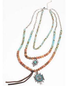 Shyanne Women's Hidden Treasure Double Beaded Aztec Pendant Necklace, Silver, hi-res