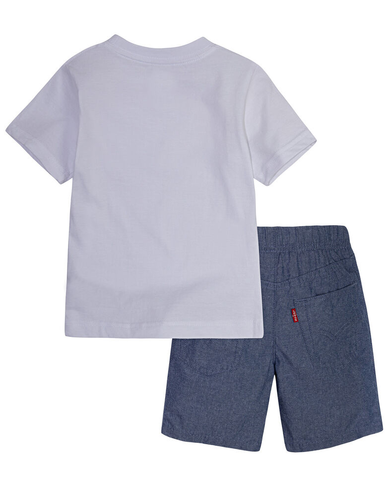 Levi's Toddler Boys' Batwing Logo Short Sleeve T-Shirt & Shorts Set , White, hi-res