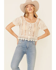 Very J Women's Open Weave Scallop Hem Short Sleeve Button-Down Crop Top , Natural, hi-res