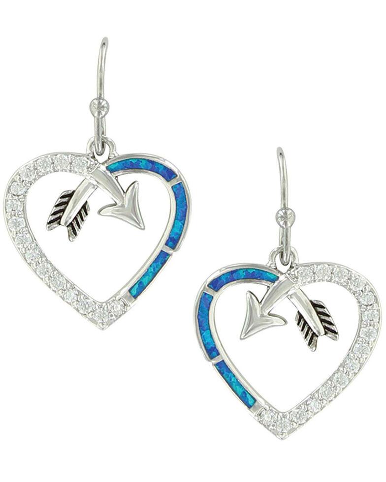 Montana Silversmiths Women's Follow Your Arrow Opal Heart Earrings, Silver, hi-res