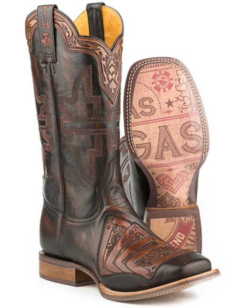 Tin Haul Men's Kings Gambling Legend Western Boots - Wide Square Toe, Black, hi-res