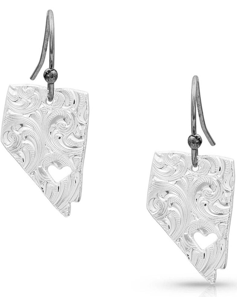Montana Silversmiths Women's I Heart Nevada State Charm Earrings, Silver, hi-res