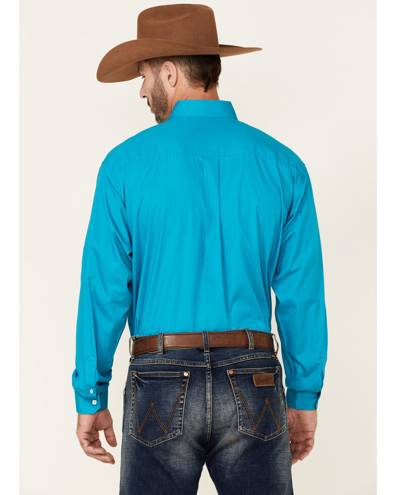 Cinch Men's Solid Turquoise Button-Down Western Shirt, Teal, hi-res