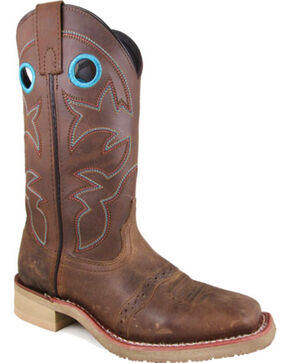 Smoky Mountain Women's Brown Hayden Leather Cowboy Boots - Square Toe , Brown, hi-res