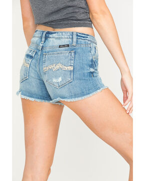 Miss Me Women's Miss Me More Mid-Rise Shorts, Indigo, hi-res