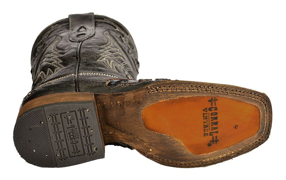 Corral Vintage Black Python Inlay Cowgirl Boots - Square Toe, , hi-res
