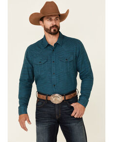 Cody James Men's Ride On Solid Long Sleeve Snap Western Shirt , Turquoise, hi-res