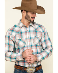 Ariat Men's Quillbrook Large Retro Plaid Long Sleeve Western Shirt , Beige/khaki, hi-res