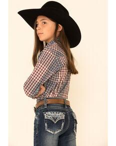 Grace In LA Girls' Dark Aztec Faux Flap Embellished Bootcut Jeans, Blue, hi-res