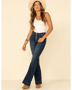 Rock & Roll Denim Women's Dark Wash Button High Rise Trousers, Blue, hi-res
