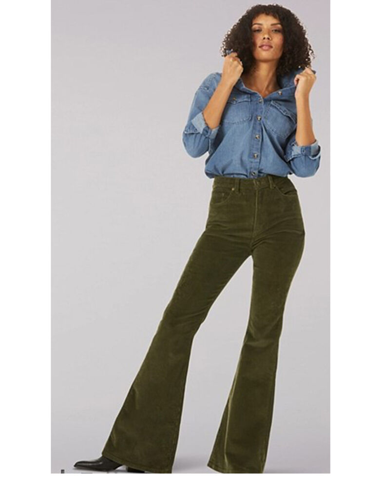 Lee Women's Wide Whale Flare Leg Corduroy Jeans, Olive, hi-res