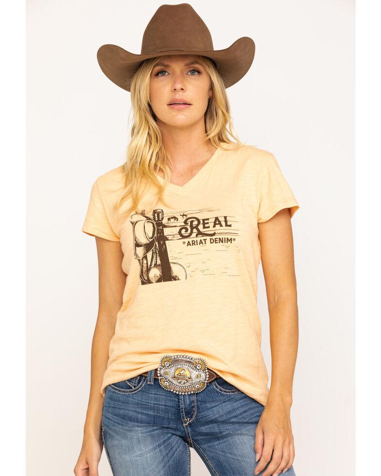 Ariat Women's R.E.A.L. Country Scene Tee, Peach, hi-res