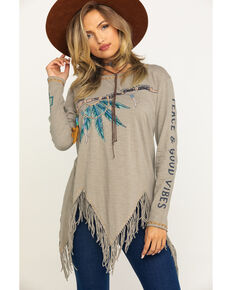 Double D Ranchwear Women's Silver Stallion Peace, Pass It Around Top, Grey, hi-res