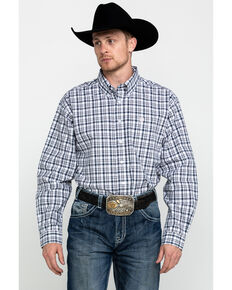 Cinch Men's White Tencel Plaid Long Sleeve Western Shirt , White, hi-res