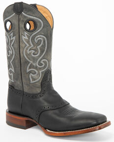 Cody James Men's Saddle Western Boots - Wide Square Toe, Black, hi-res