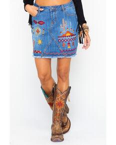 df81950391 Stetson Women's Aztec Embroidered Raw Edge Denim Skirt