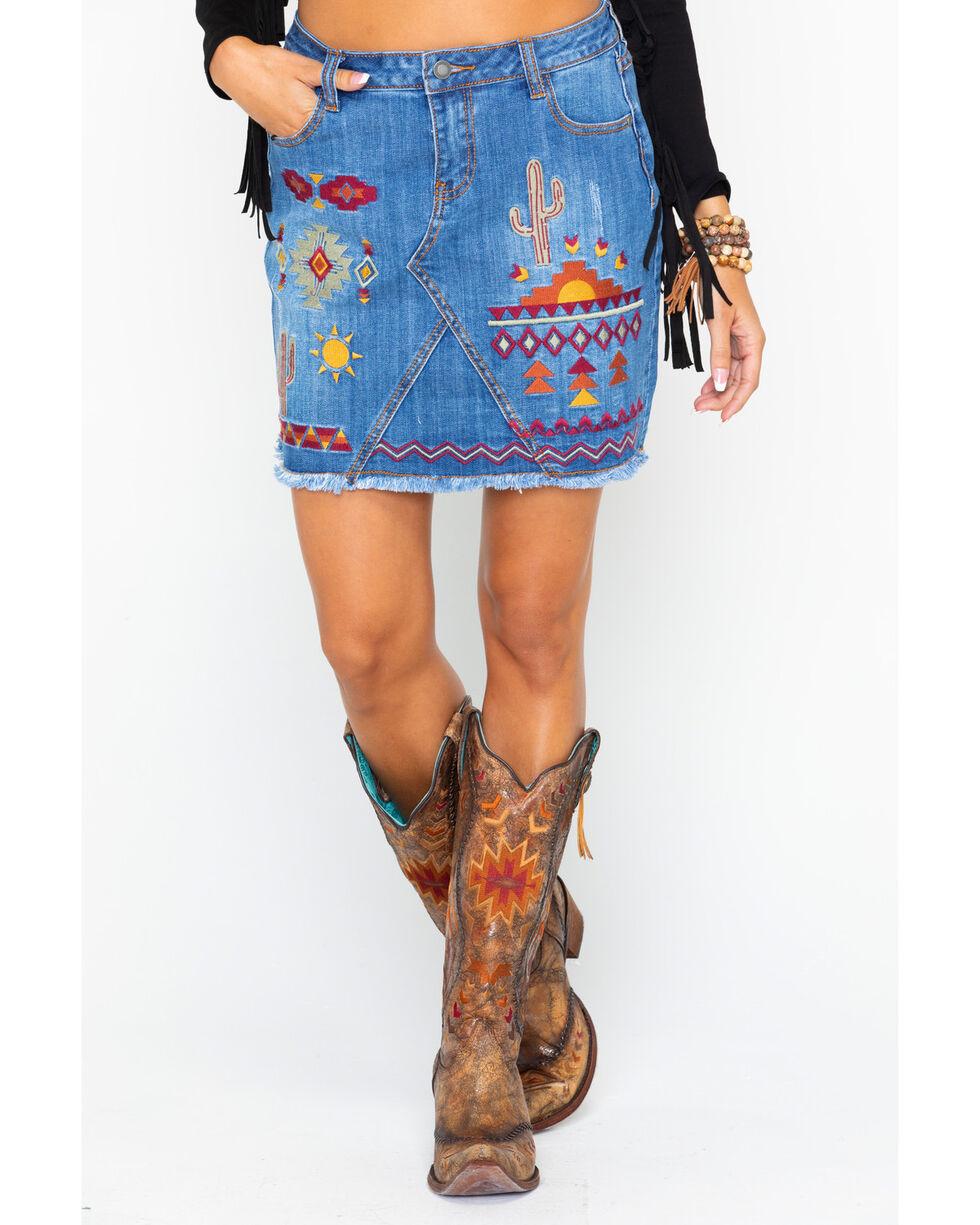 Stetson Women's Aztec Embroidered Raw Edge Denim Skirt  , Indigo, hi-res